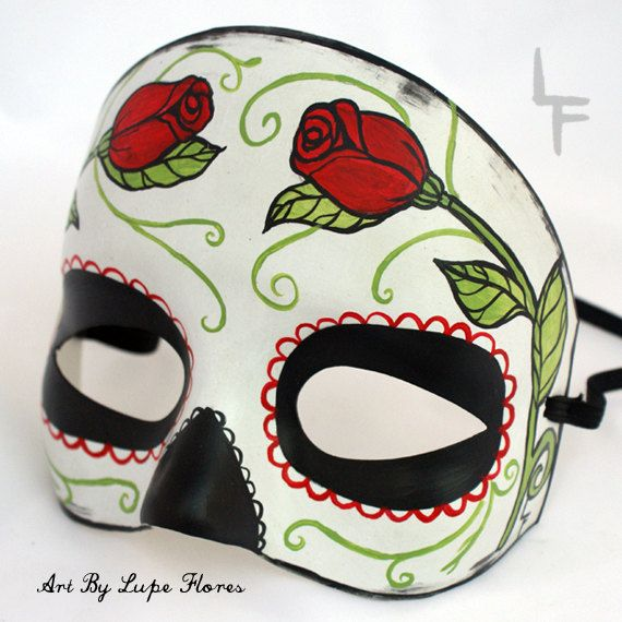 Vintage Rose Sugar Skull Day of the Dead Hand painted Mask Mexican Art Catrina festival. $35,00, via Etsy.