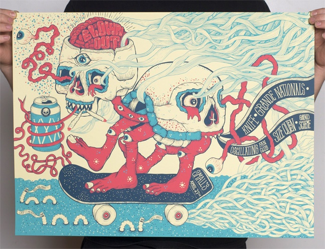Skulls and trippy colours in screen prints by jason abraham smith