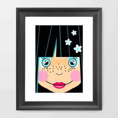 Japanese Girl Framed Art Print by Namia Design - $35.00