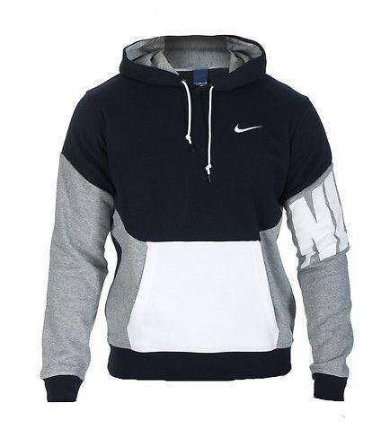 NIKE Pullover hoodie Long sleeves Adjustable drawstring on hood NIKE swoosh logo on chest Front kangaroo pocket Soft inner fleece for
