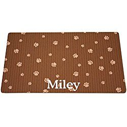 Drymate Brown & Tan Paw Print Personalized Dog Placemat, Small