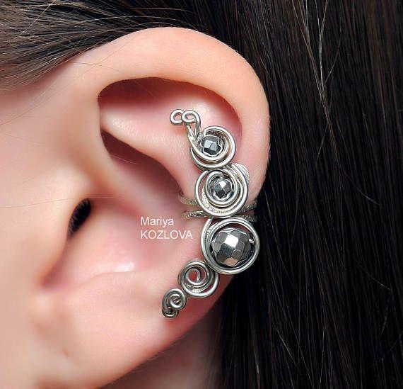 Geen Piercing hematiet Shine Silver Swirls/kraakbeen oor