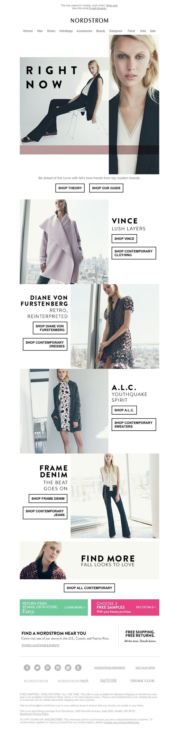 Nordstrom - Theory, Vince, Diane von Furstenberg and more: first look at fall trends