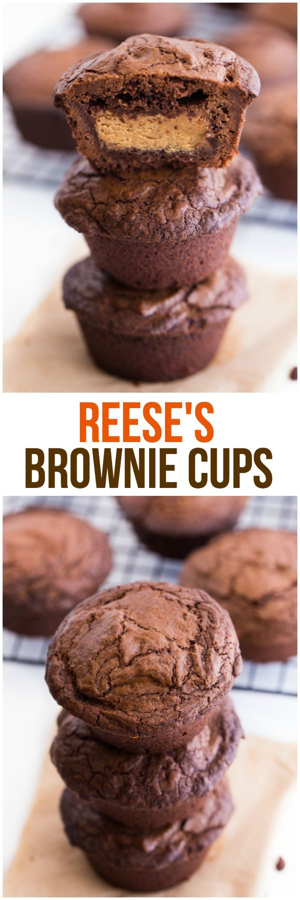 Reese's Stuffed Brownies Recipe - Giant Reese's Peanut Butter Cups are stuffed inside a rich chocolate brownie. Each bite is pure chocolate heaven!
