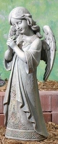 Praying  Angel Garden Statue with celtic knot designs - 16in Tall.  This serene angel garden statue is made to look like real stone and is embellished Irish Knot pattern