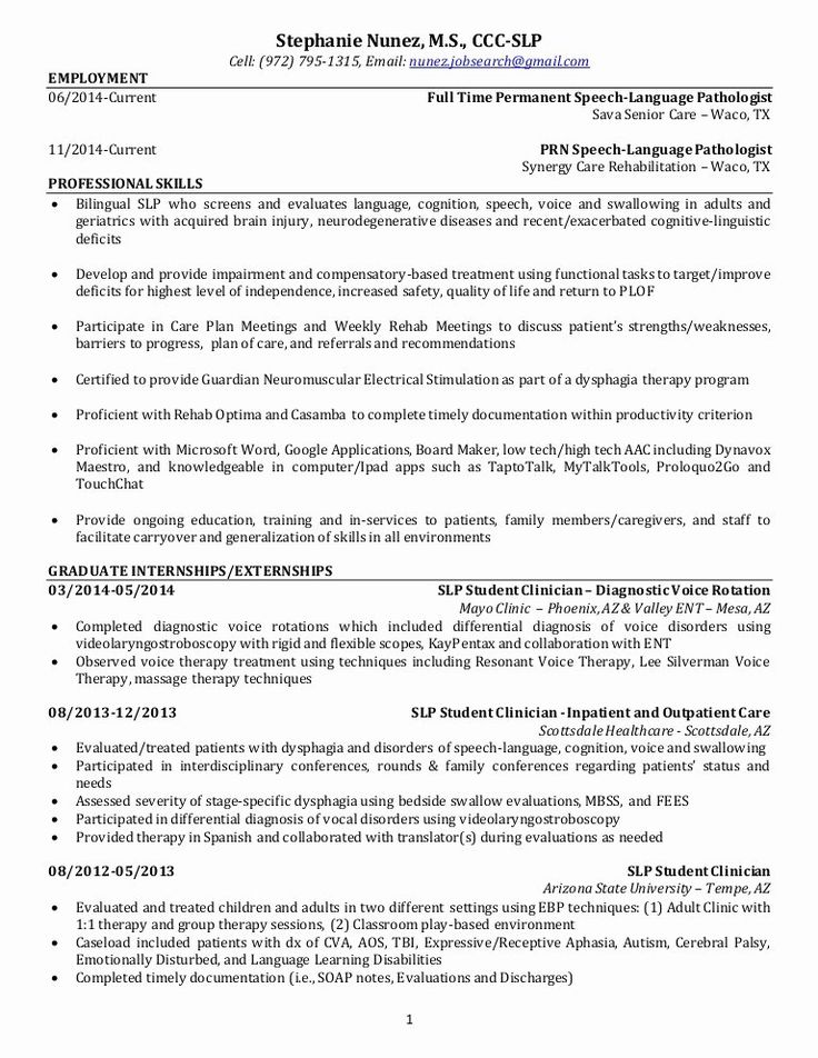 25 Speech Language Pathologist Resume Template in 2020