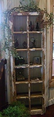 Old Chippy White Window...repurposed into a shabby cupboard...with bead board back....
