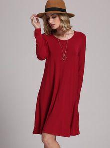 Casual Kleid Langarm - burgund rot