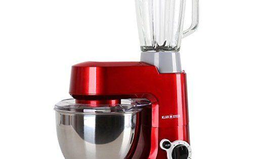 Klarstein Carina Rossa Set – Robot de cuisine avec mixeur blender robot patissier multifonction avec bol inox de 4L (800W, accessoires pour…