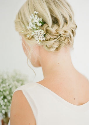 possible tight pins with baby breath or small flower around the back of head?