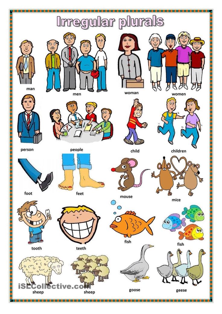 ISL Collective. Irregular plurals. This is a good visual for helping ELLs learn about irregular plurals.