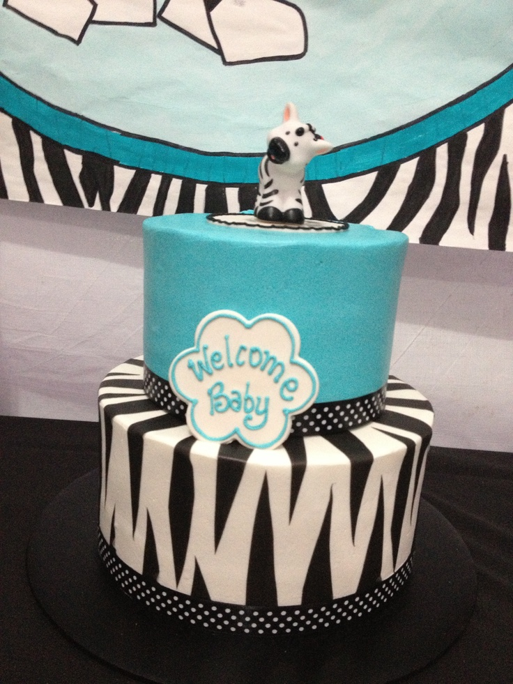 Zebra Tiffany Blue Baby Shower Cake Babyshowers Leuke