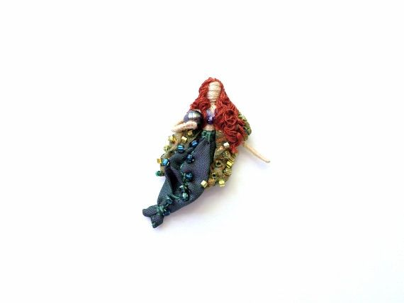 Miniature Mermaid Doll worry doll pin pendant by BaroqueGarden