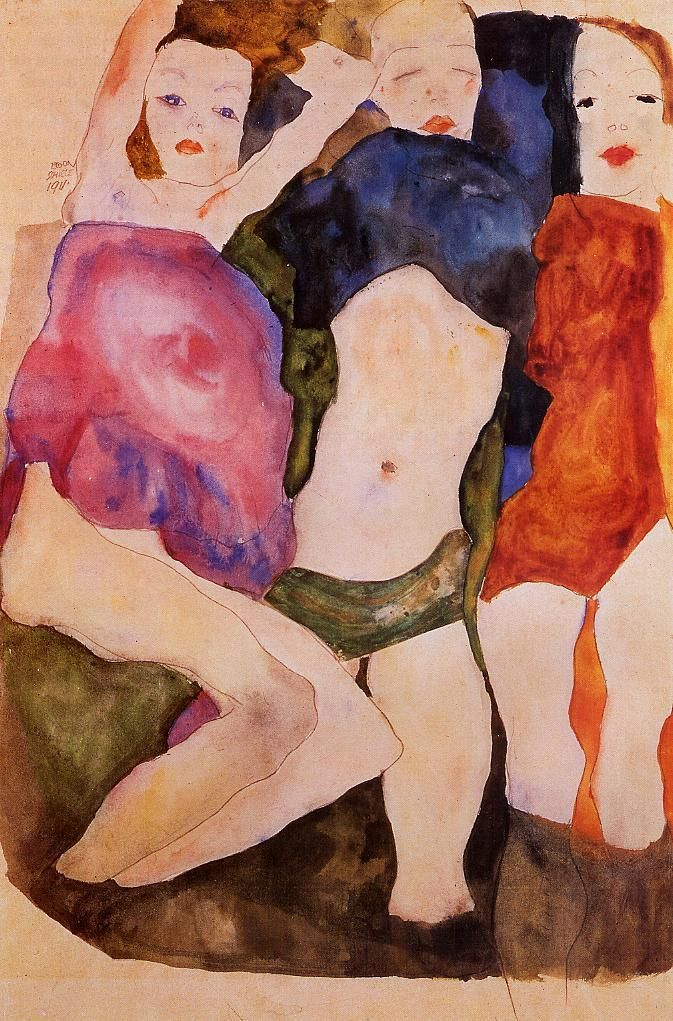 Three Girls Egon Schiele 1911 German/Austrian Expressionism watercolor on paper Private Collection Agregado desde
