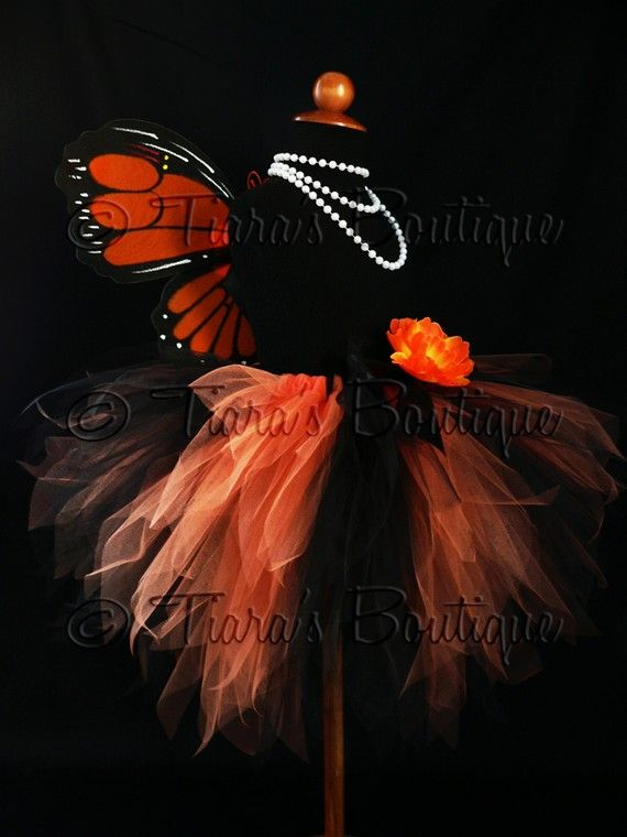 Halloween Tutu  Monarch Butterfly  Orange and Black