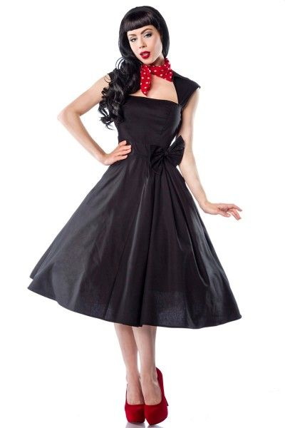 Meerweibchen.de  Rockabilly-Kleid   - sehr hochwertiges Kleid im Rockabilly-Style - mit Umlegekragen - angenähte Zierschleife vorne - seitlicher Reißverschluss - Petticoat ist nicht inklusive