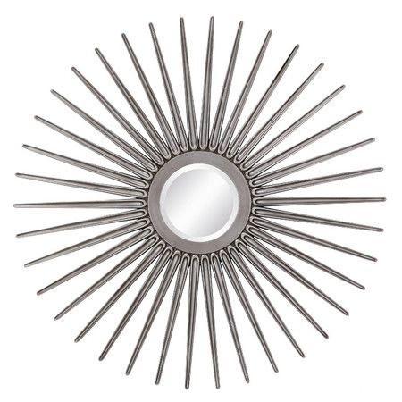 Circular wall mirror with a sunburst-inspired frame. Product: MirrorConstruction Material: Metal and mirrored glass