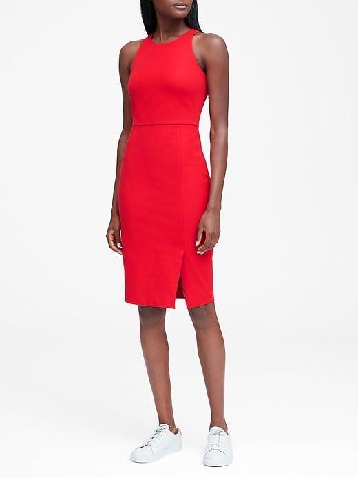 Petite red sheath dress nude
