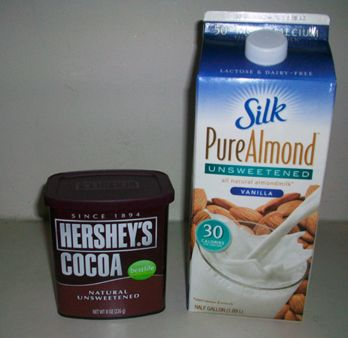 Almond Milk Cocoa 1 cup unsweetened almond milk ( Original Silk; Vanilla Unsweetened is even better) 2 teaspoons of unsweetened cocoa  1 packet of Truvia