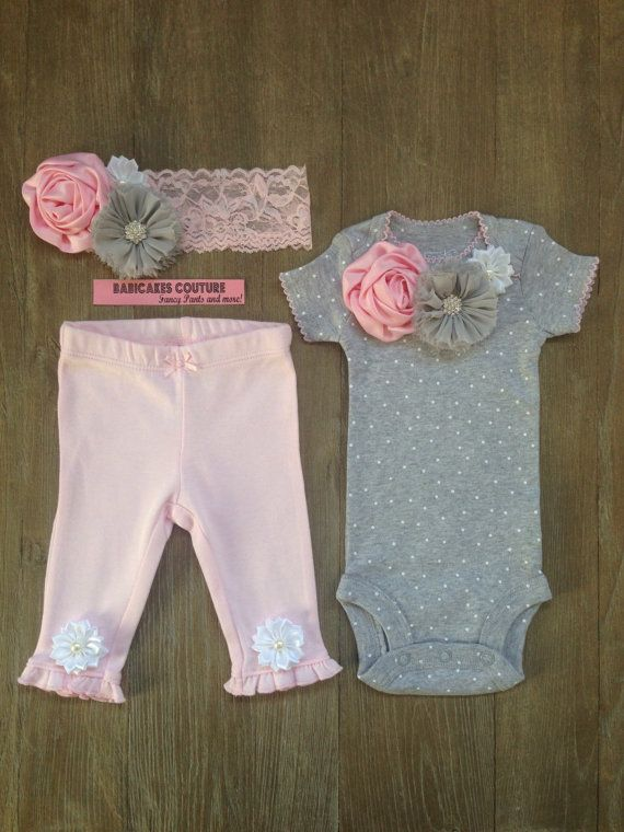 Newborn Girl Take Home Outfit Bodysuit Pants & by BabicakesCouture