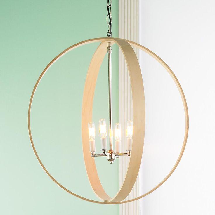 Wood rings orbit chandelier polished nickel wood rings for Natural wood chandelier