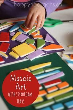 Mosaic Art Project for Kids that recycle your styrofoam trays!