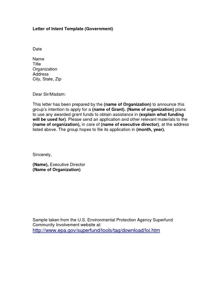 Grant Letter of Intent Template   Letter of Intent Template Government letter of intent Letter of Intent ...
