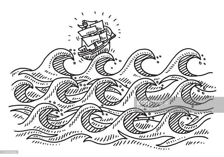 Vector Art : Rough Sea Waves Cartoon Sailing Ship Drawing