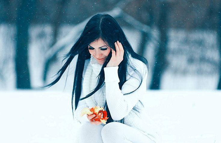 Зимние картинки с девушкой брюнеткой
