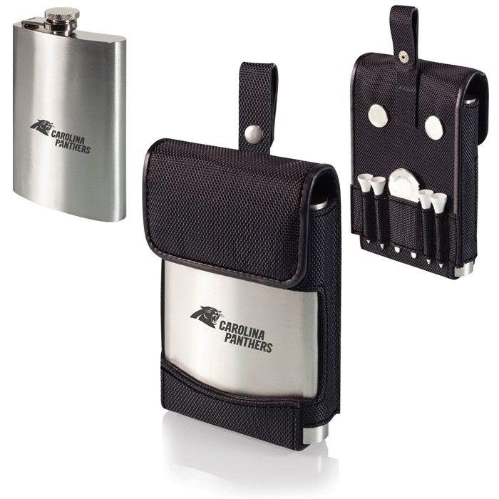 Carolina Panthers NFL Laser Engraved Golf Flask. Perfect gift for every NFL fan who loves golf.  Visit SportsFansPlus.com for Details.