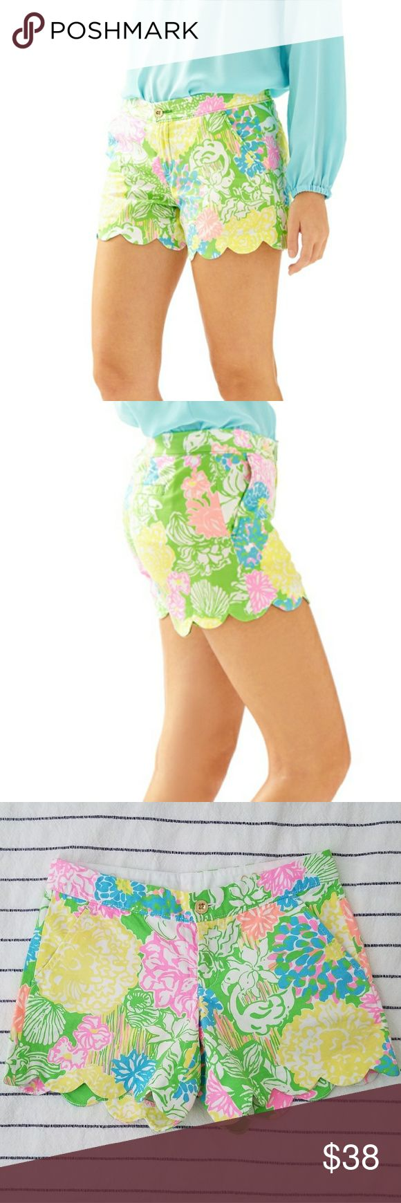 Lilly Pulitzer Buttercup Shorts - Hibiscus Stroll Never worn. Size 00- fits 25-26 waists.   Super cute but don't like how they look on short legs like mine lol  * pattern on stock pics and actual garment vary Lilly Pulitzer Shorts