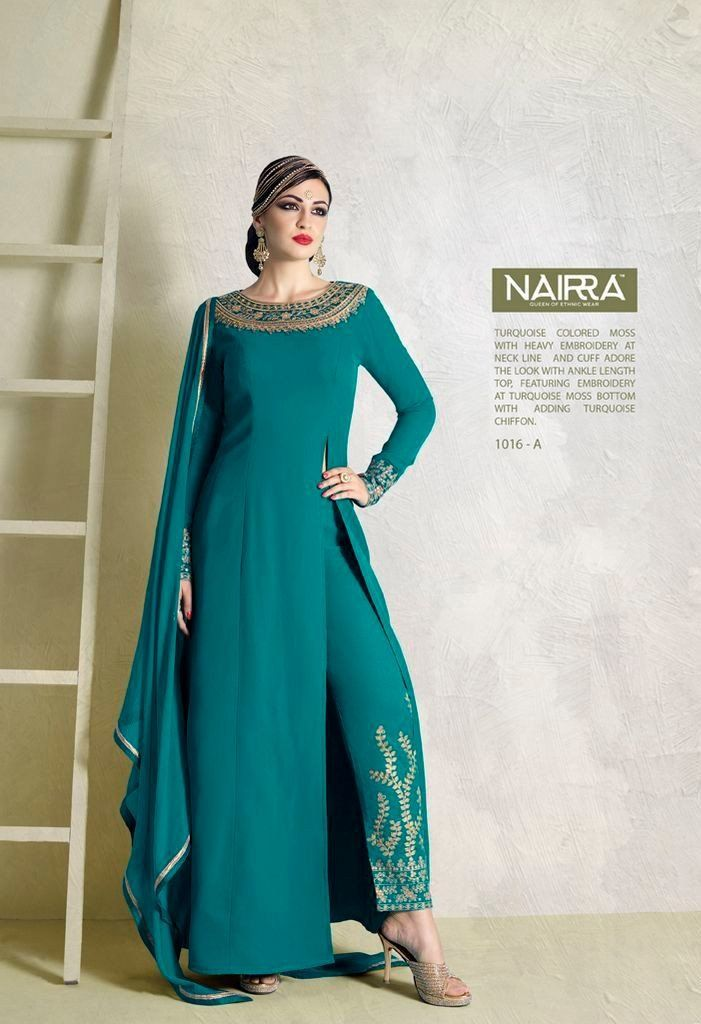Product Code 1016A Weight 2 KGS Delivery Days 20 Days Fabric-Top Ankle Length Top In Turquoise Color Moss Fabric With Heavy Embroidery At Neck Line And Cuff Fabric-Dupatta Turquoise Moss Chiffon Dupat