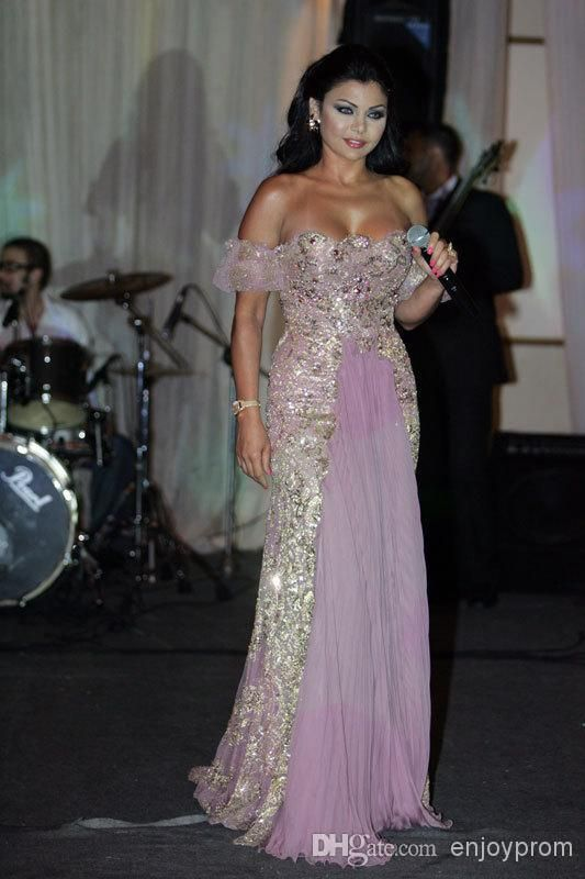 2015 Custom Made Celebrity dress Red Carpet Dressese Myriam fares Haifa Cap sleeve gold flower Lace Floor length Costume Evening Dresses