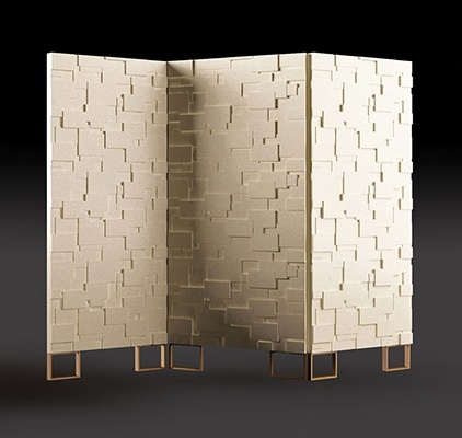 aurea foil by domodinamica.  could be DIY'd with MDF panels and Inhabit tiles.