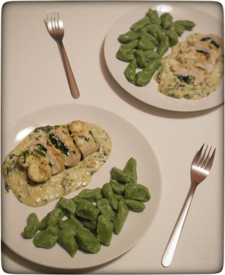 Roladki z kurczaka z zielonymi kluskami