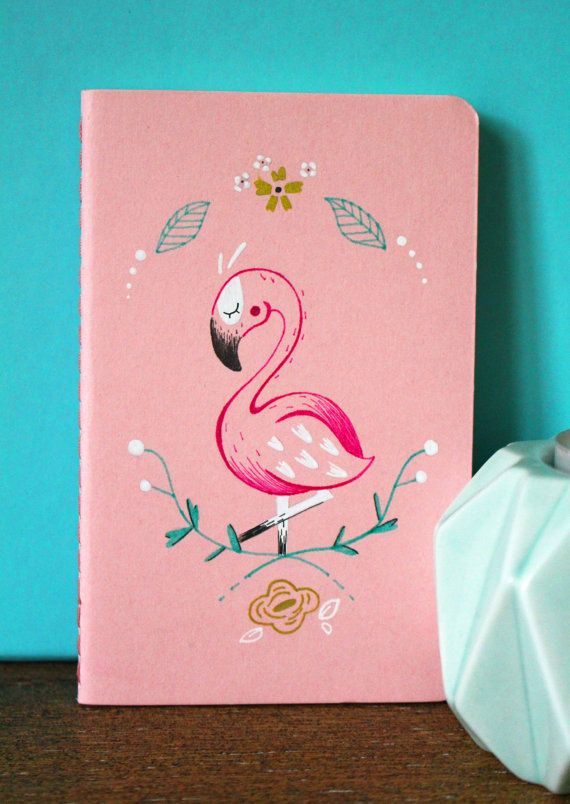 Petit carnet Flamant rose Illustration par LeroiFrankyCreations