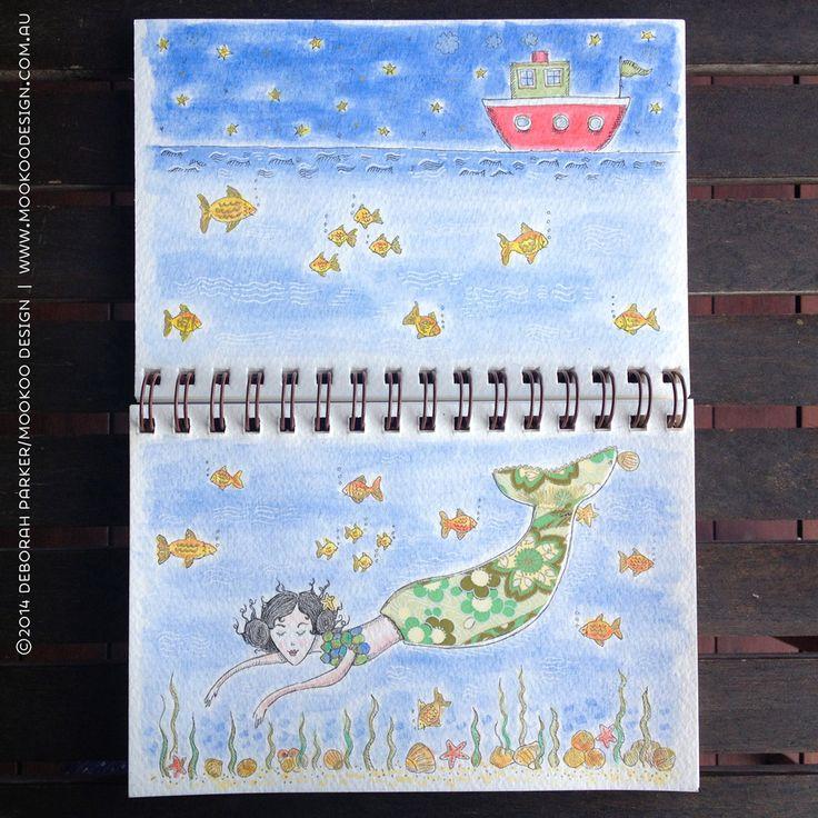 Week 13: Water. Fineliner & watercolour
