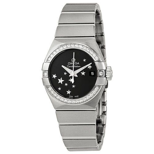 Omega Constellation Chronometer Star Black Dial Stainless Steel Ladies Watch 123...