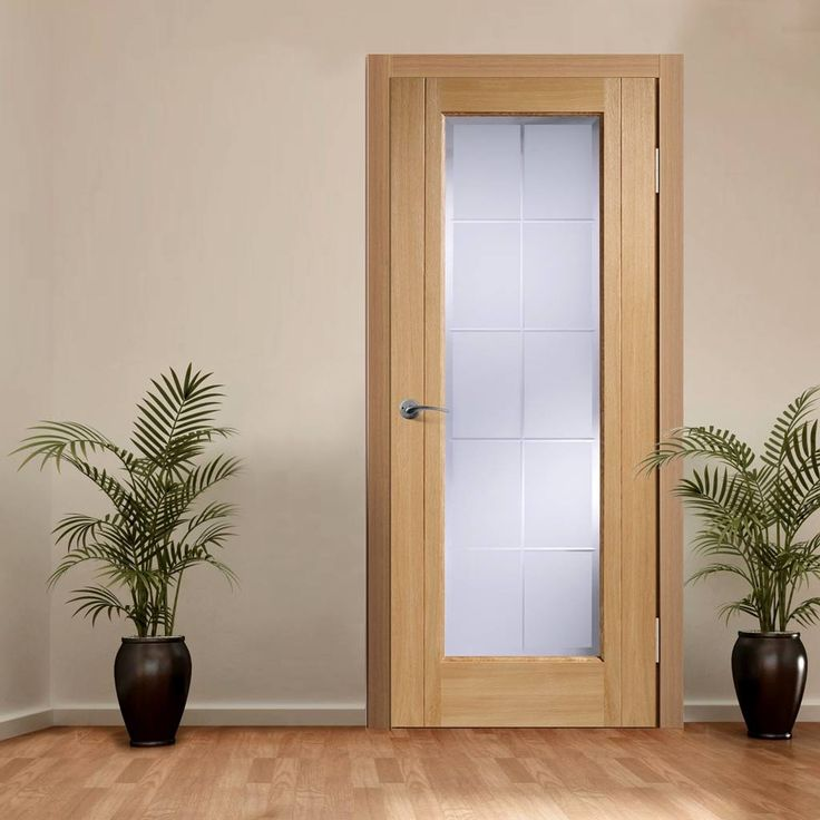 Seville Oak Door With Frosted Glass Including Clear Brilliant Cut Bevel  Edges And Fully Pre Finished