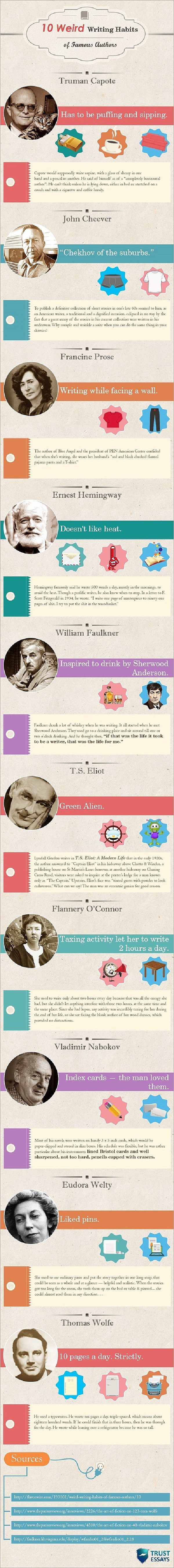 Famous #authors and their weird writing habits #infographic