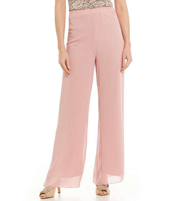 Blush:Alex Evenings Wide-Leg Chiffon Pants