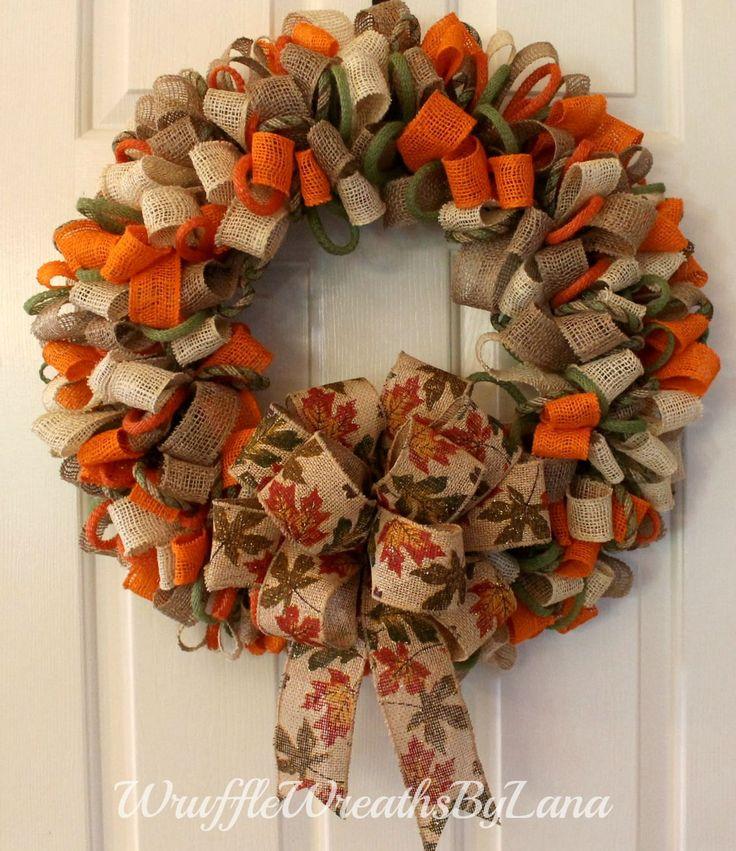 Fall Burlap Ribbon Wreath, Fall Wreath, Burlap Wreath, Thanksgiving Wreath, Front Door Wreath, Front Door Decor by WruffleWreathsbyLana on Etsy