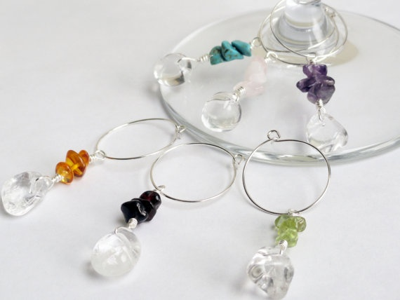 Rock quartz wine charms x 6  semi precious by InternationalChef, $25.00