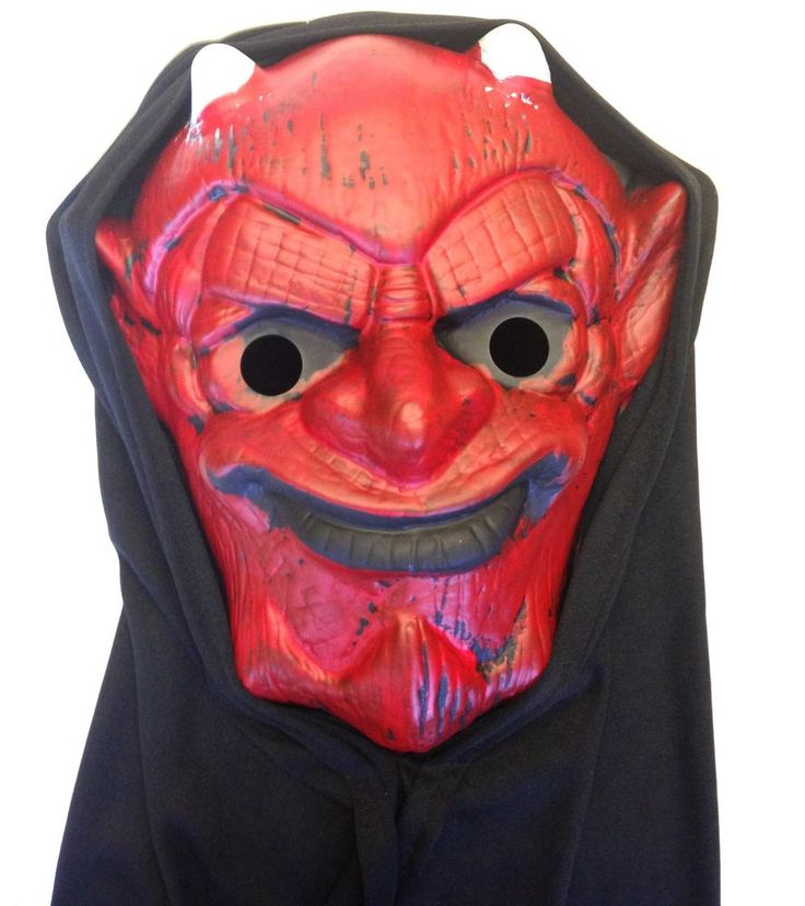 Premier Adult Halloween Blister Mask Demon with Hood