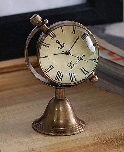Beau Buy Antique Retro Vintage Inspired Brass Metal Craft World Globe Table Clock  Home Decor