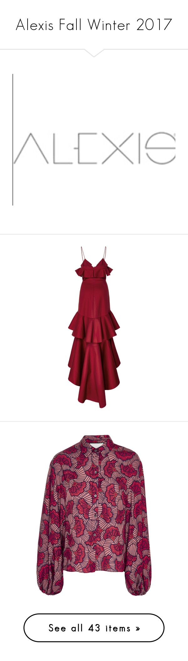 """Alexis Fall Winter 2017"" by enam ❤ liked on Polyvore featuring dresses, tiered ruffle dress, ruffle cocktail dress, red cocktail dress, red high low dress, high low dresses, tops, print, alexis top and purple top"
