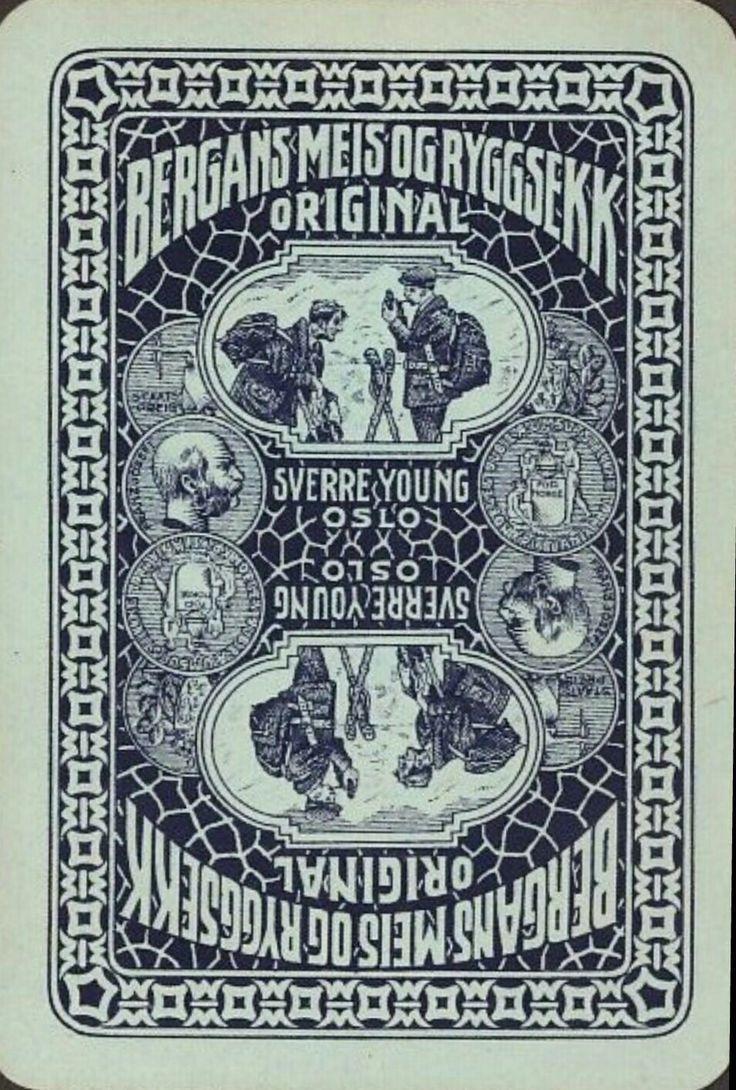 Reklamekort Andreas Bloch. Bergans innreg. varemerke på spillkort Sverre Young Oslo.