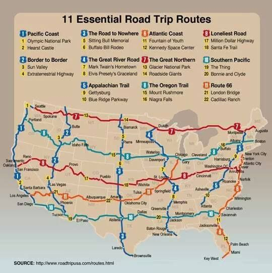 Essential Road Trip RoutesBuckets Lists, 11 Essential, Road Trips, Essential Roads, Must Do Roads, Places, Travel, Roads Trips, Trips Route