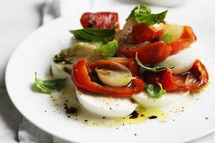 Neil Perry's buffalo mozzarella, capsicum and onion salad. Photo by William Meppem. Recipe: http://www.smh.com.au/lifestyle/cuisine/vegetarian/recipe/buffalo-mozzarella-capsicum-and-onion-salad-20120724-22m30.html
