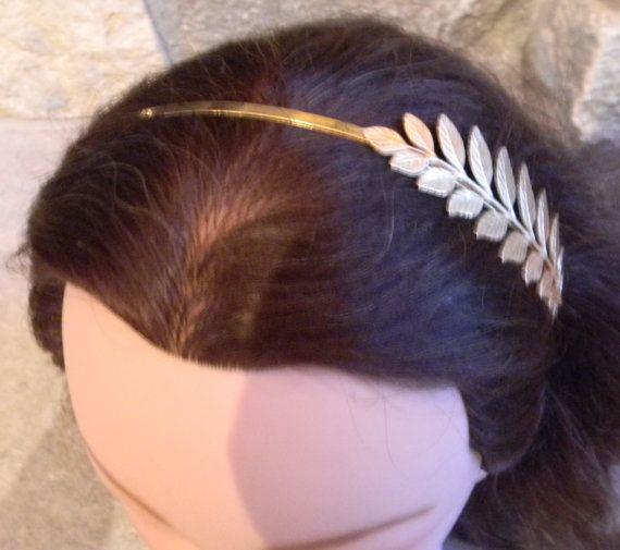 Novia tocado pelo griego diadema novia pelo guirnalda hoja